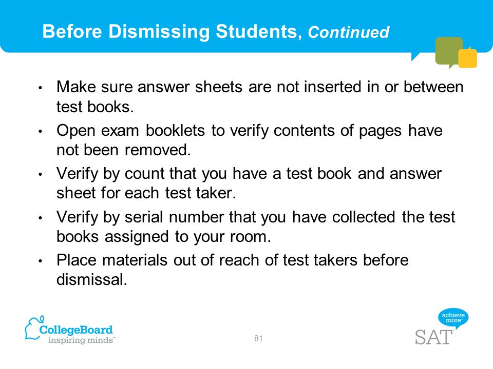 Before Dismissing Students, Continued