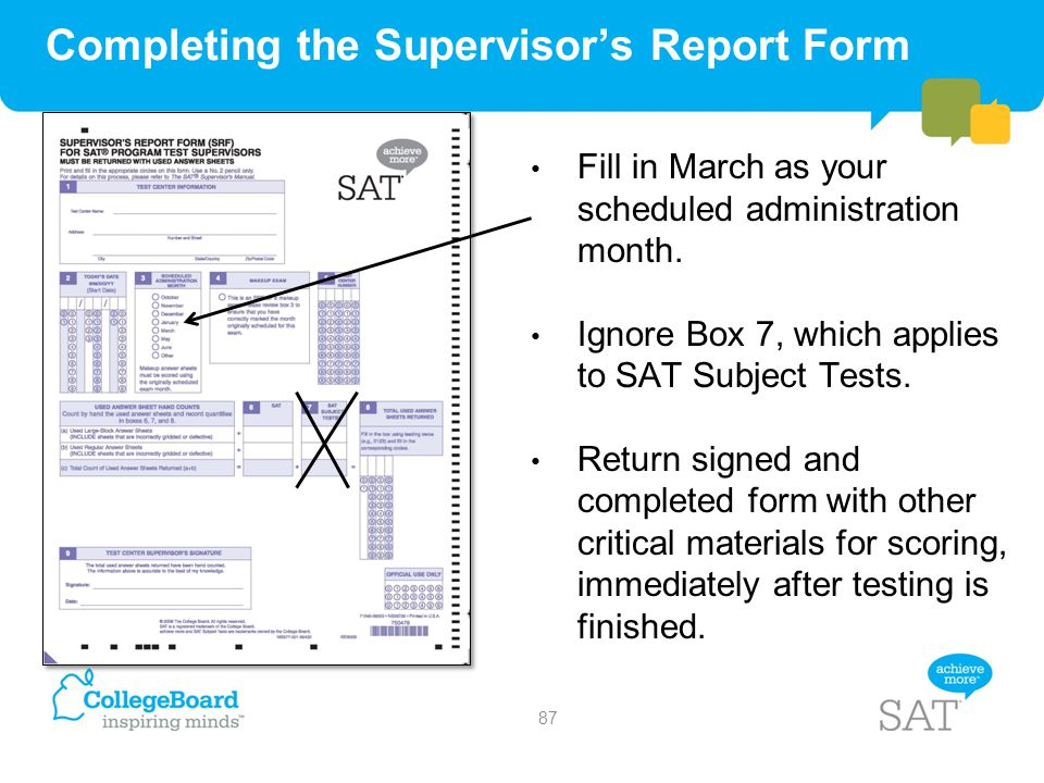 Completing the Supervisor's Report Form
