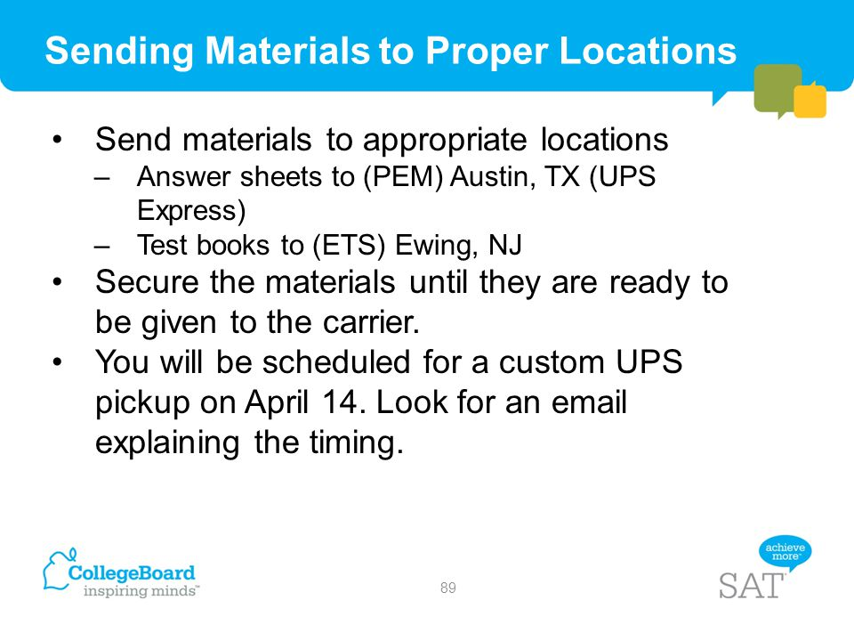 Sending Materials to Proper Locations