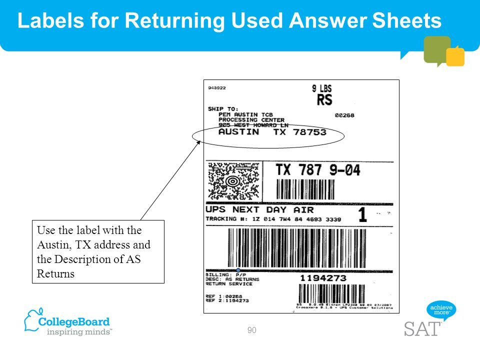 Labels for Returning Used Answer Sheets