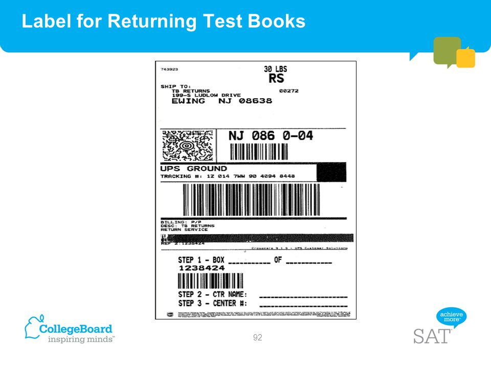 Label for Returning Test Books