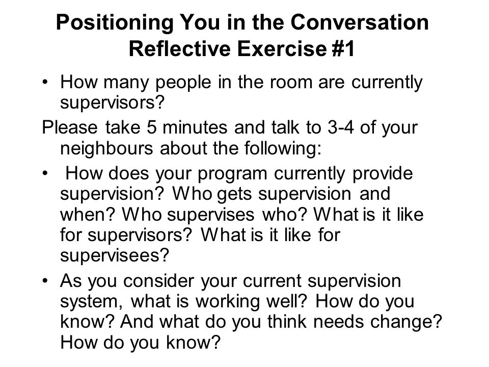 Positioning You in the Conversation Reflective Exercise #1
