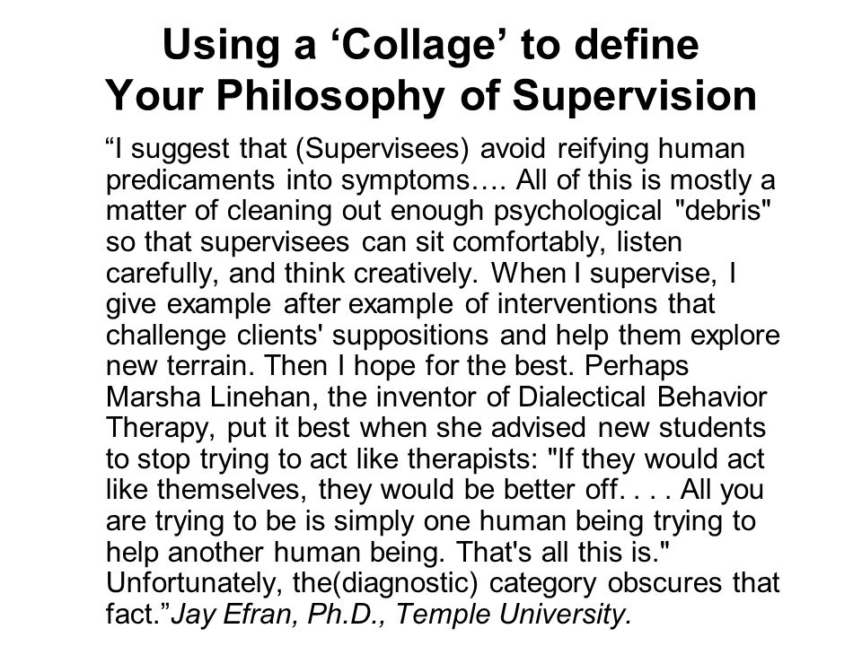 Using a 'Collage' to define Your Philosophy of Supervision