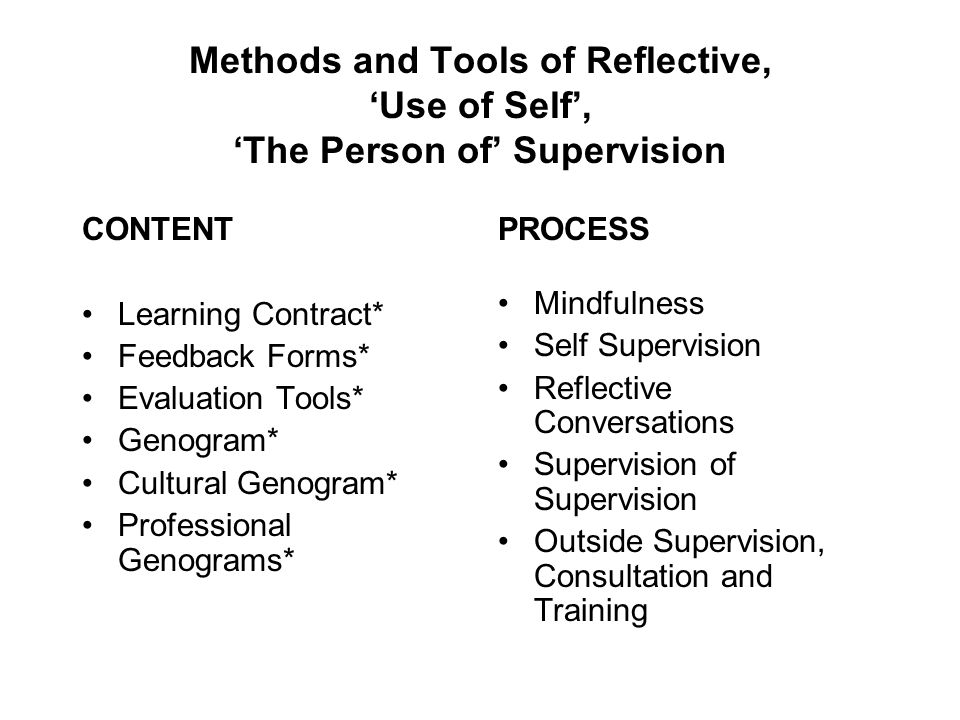 Methods and Tools of Reflective, 'Use of Self', 'The Person of' Supervision