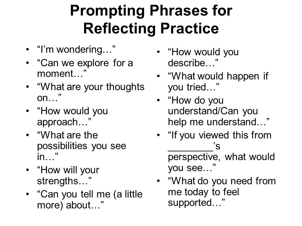 Prompting Phrases for Reflecting Practice