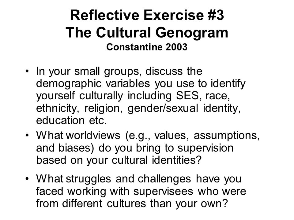Reflective Exercise #3 The Cultural Genogram Constantine 2003