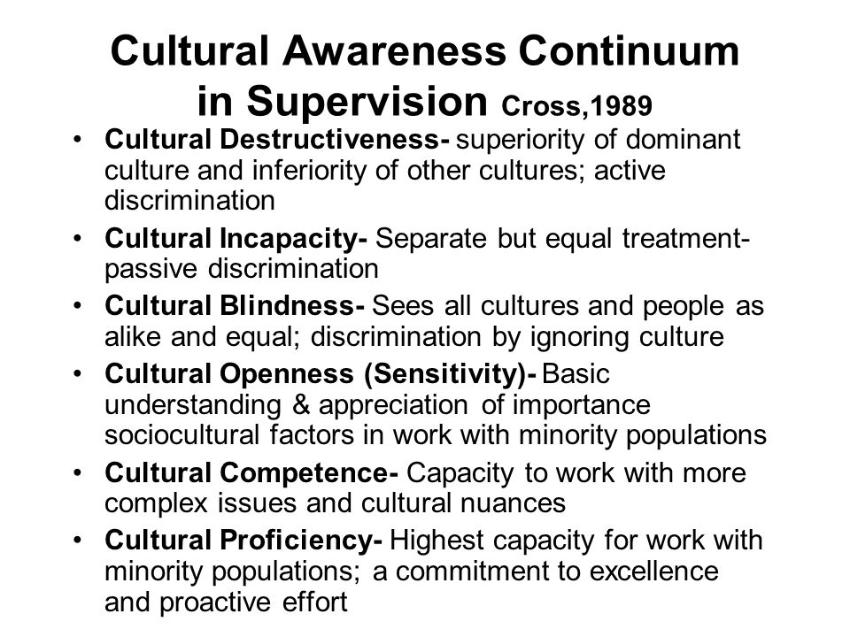 Cultural Awareness Continuum in Supervision Cross,1989
