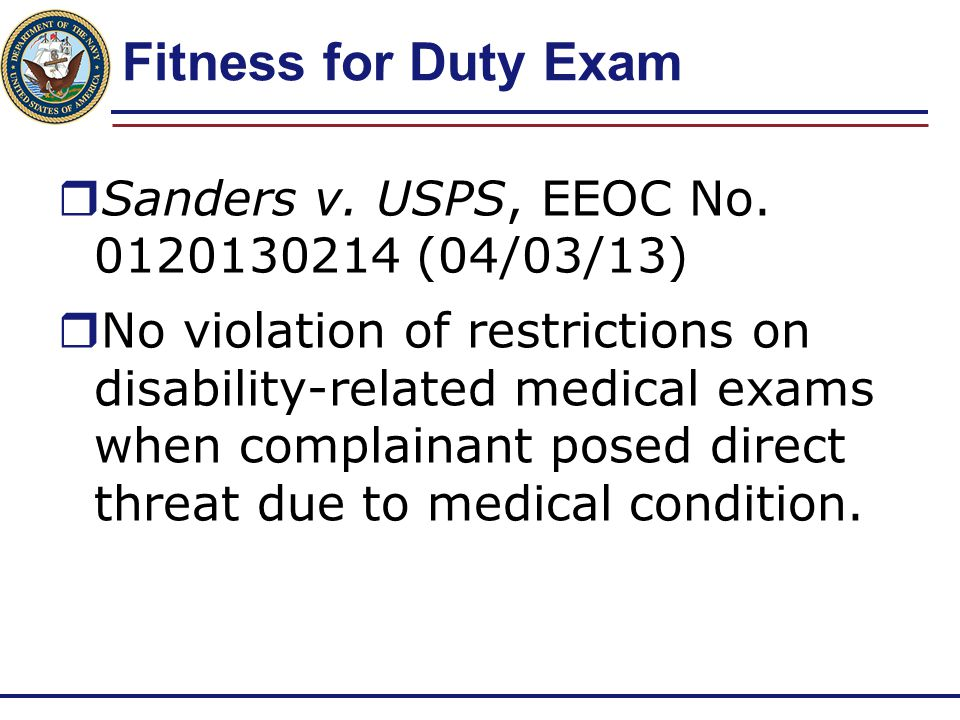 Fitness for Duty Exam Sanders v. USPS, EEOC No. 0120130214 (04/03/13)