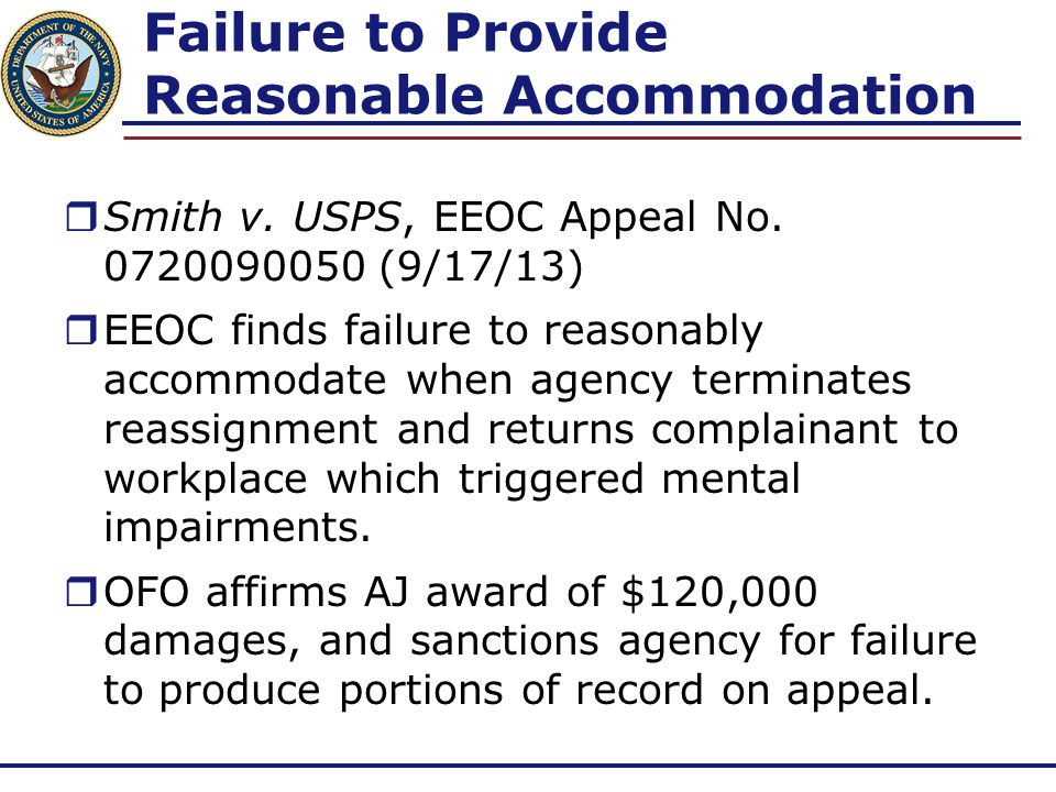 Failure to Provide Reasonable Accommodation