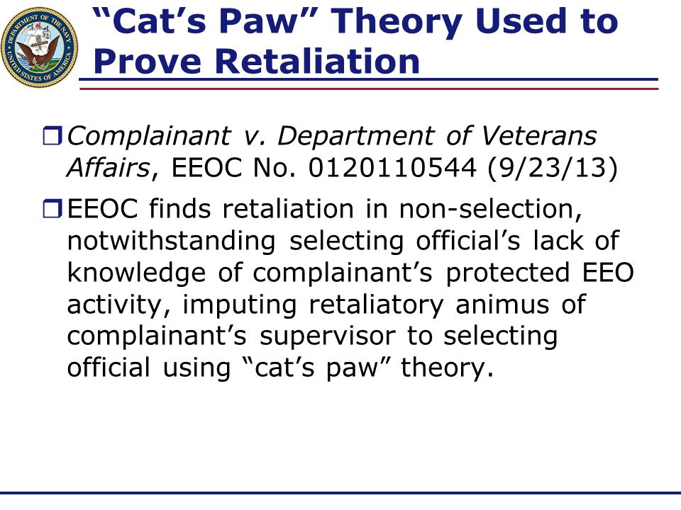Cat's Paw Theory Used to Prove Retaliation