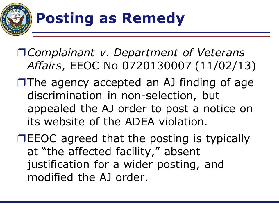 Posting as Remedy Complainant v. Department of Veterans Affairs, EEOC No 0720130007 (11/02/13)