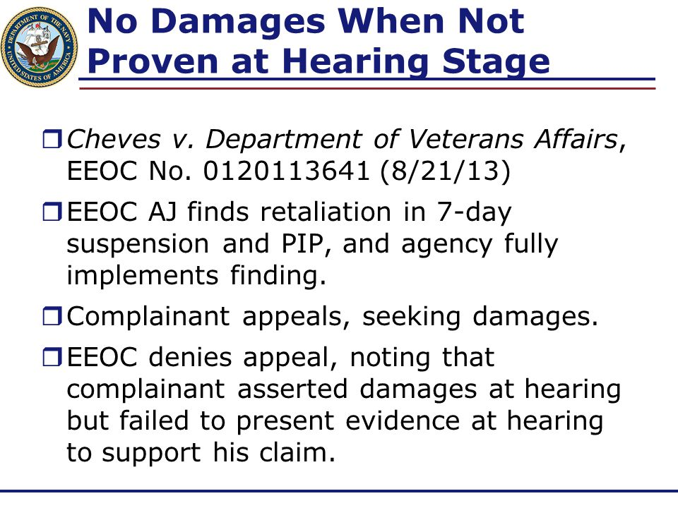 No Damages When Not Proven at Hearing Stage