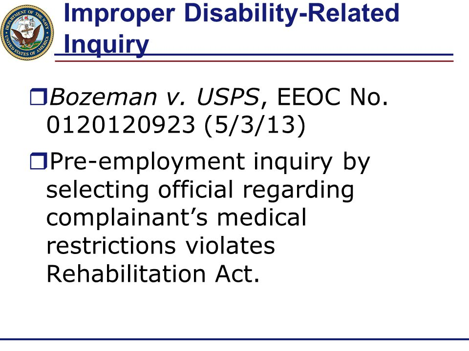 Improper Disability-Related Inquiry