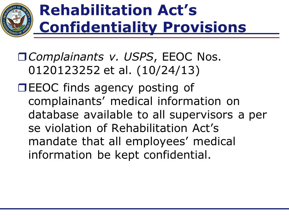 Rehabilitation Act's Confidentiality Provisions