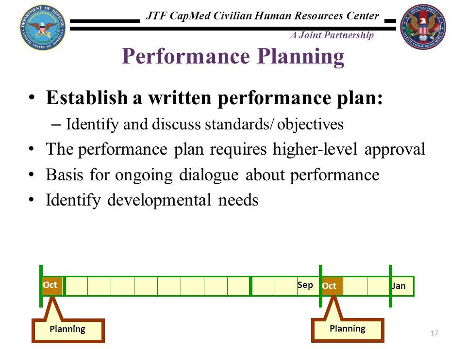 Performance Planning Establish a written performance plan:
