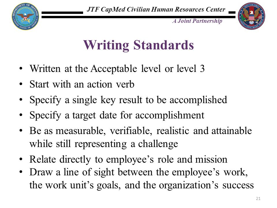 Writing Standards Written at the Acceptable level or level 3
