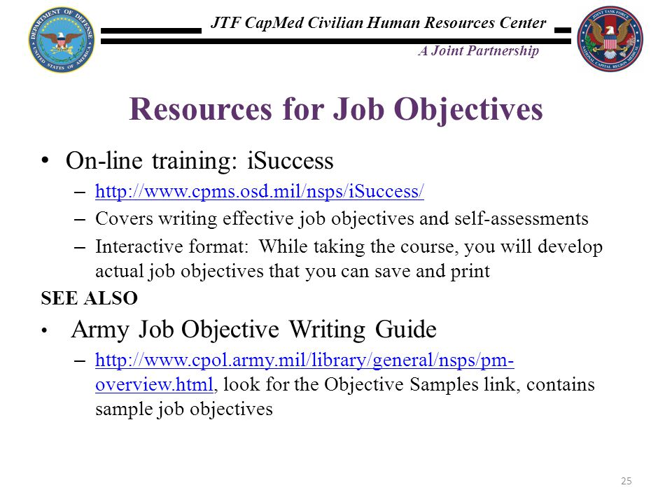 Resources for Job Objectives