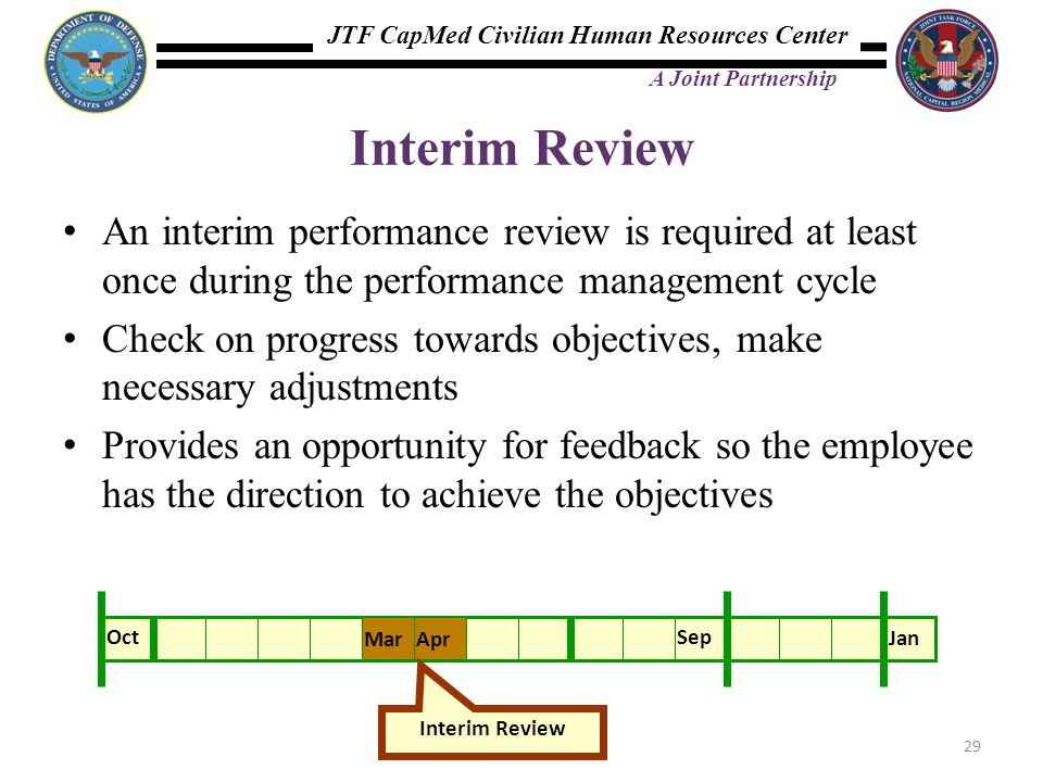 Interim Review An interim performance review is required at least once during the performance management cycle.