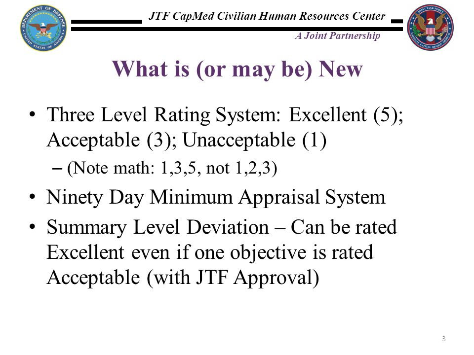 What is (or may be) New Three Level Rating System: Excellent (5); Acceptable (3); Unacceptable (1) (Note math: 1,3,5, not 1,2,3)