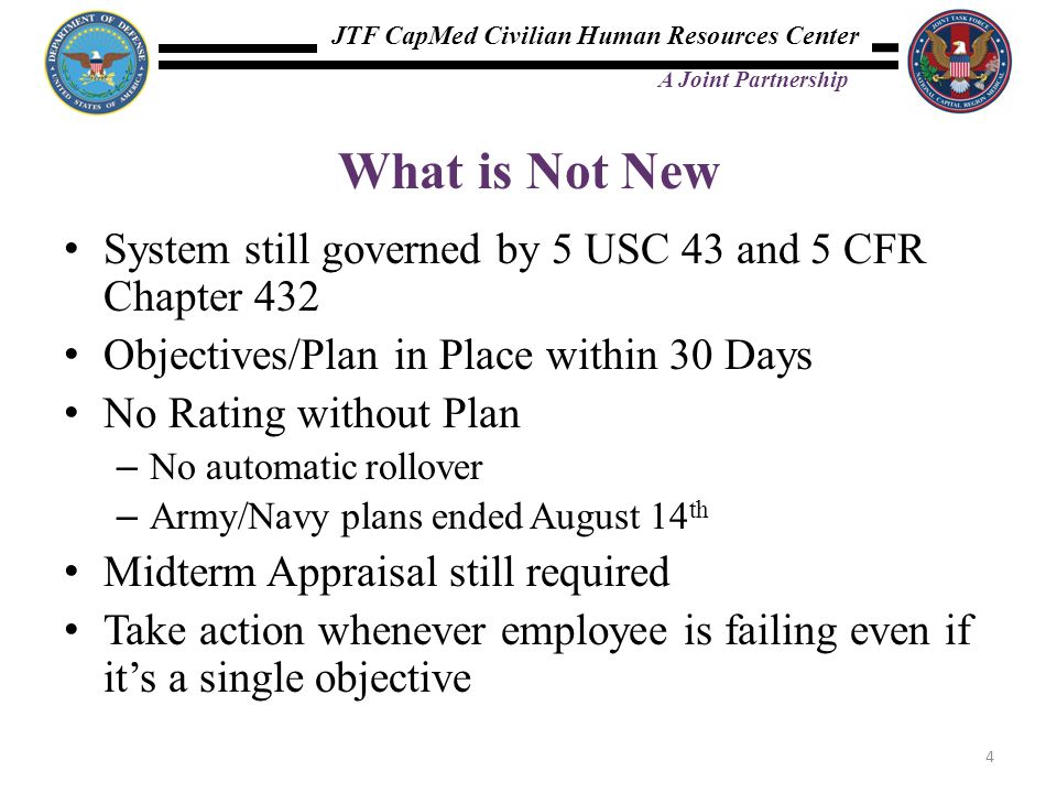 What is Not New System still governed by 5 USC 43 and 5 CFR Chapter 432. Objectives/Plan in Place within 30 Days.