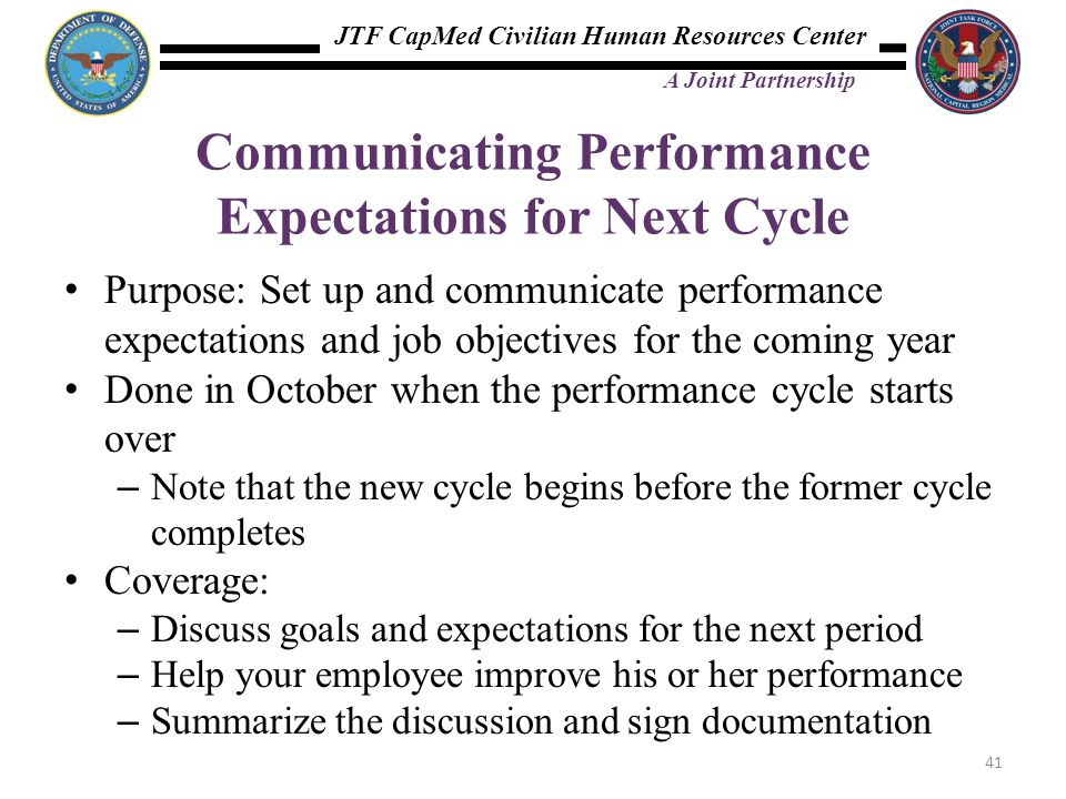 Communicating Performance Expectations for Next Cycle