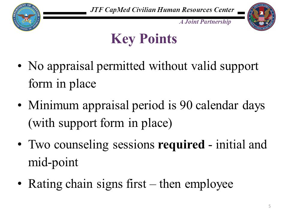 Key Points No appraisal permitted without valid support form in place