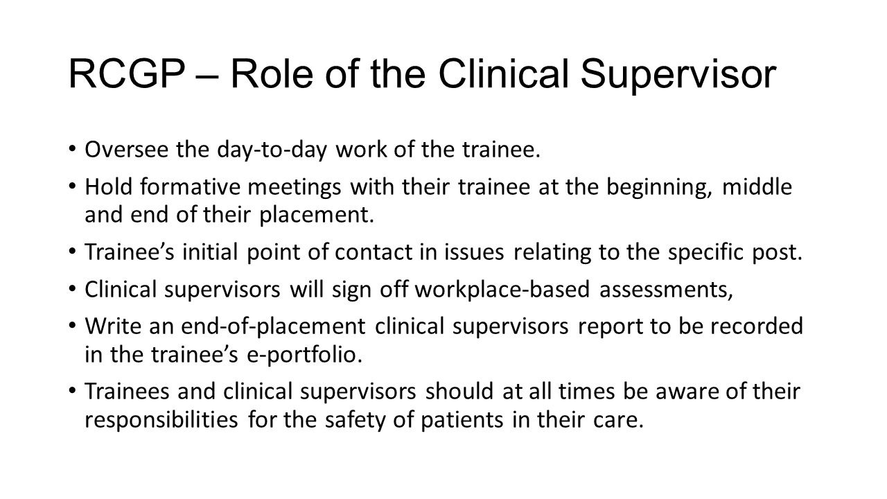 RCGP – Role of the Clinical Supervisor