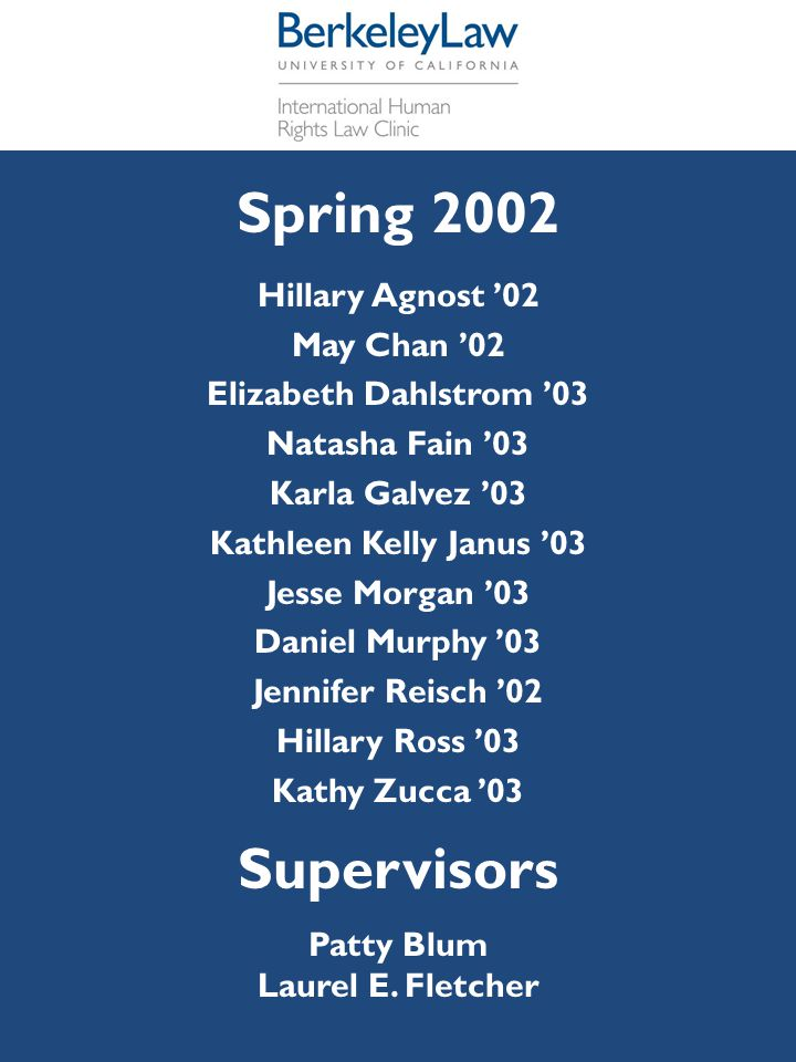 Spring 2002 Supervisors Hillary Agnost '02 May Chan '02