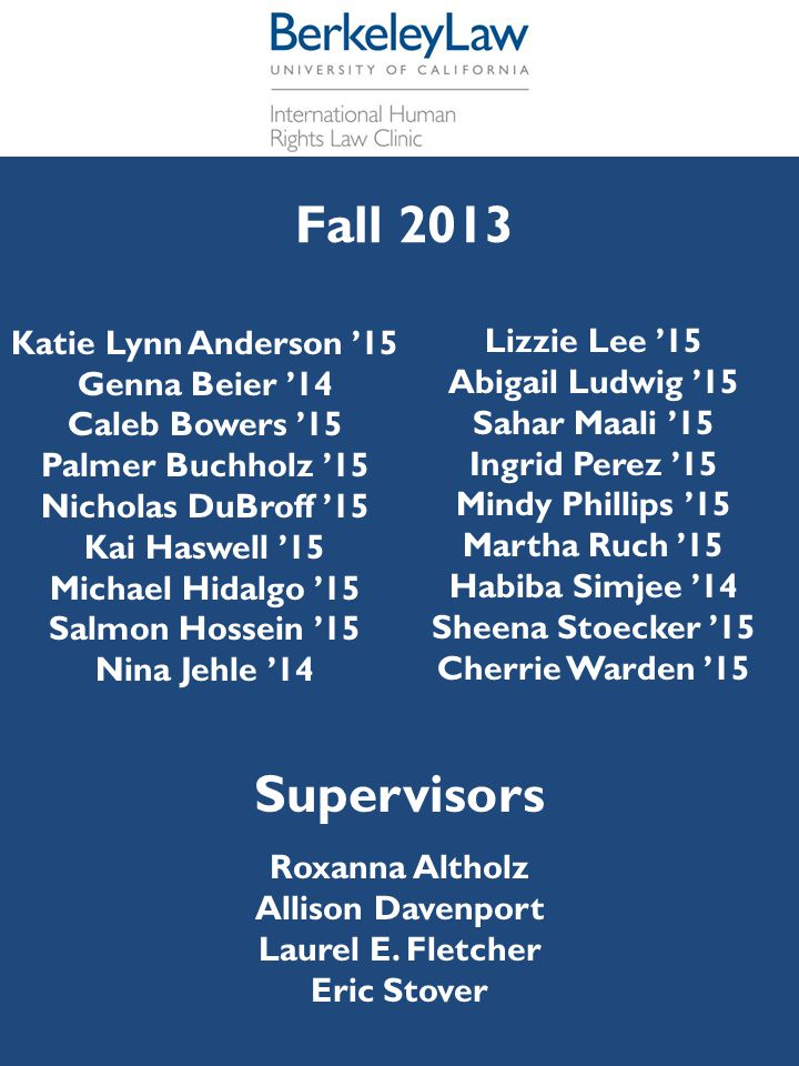 Supervisors Fall 2013 Katie Lynn Anderson '15 Lizzie Lee '15