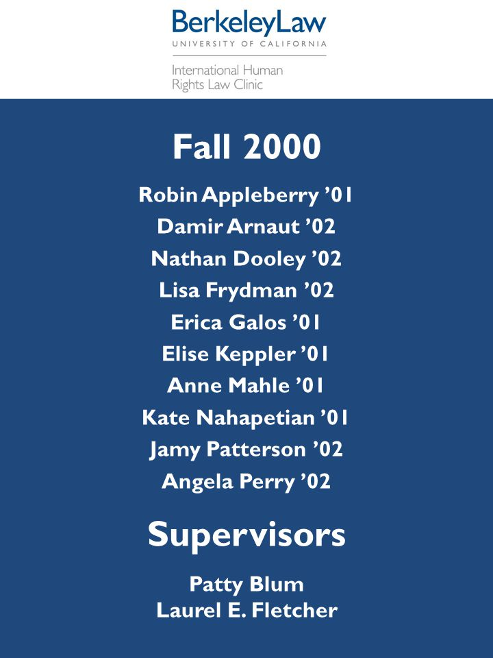 Fall 2000 Supervisors Robin Appleberry '01 Damir Arnaut '02