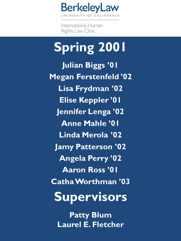 Spring 2001 Supervisors Julian Biggs '01 Megan Ferstenfeld '02