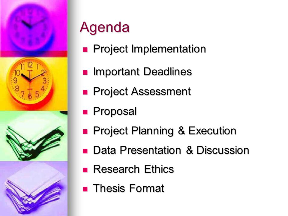 Agenda Project Implementation Important Deadlines Project Assessment