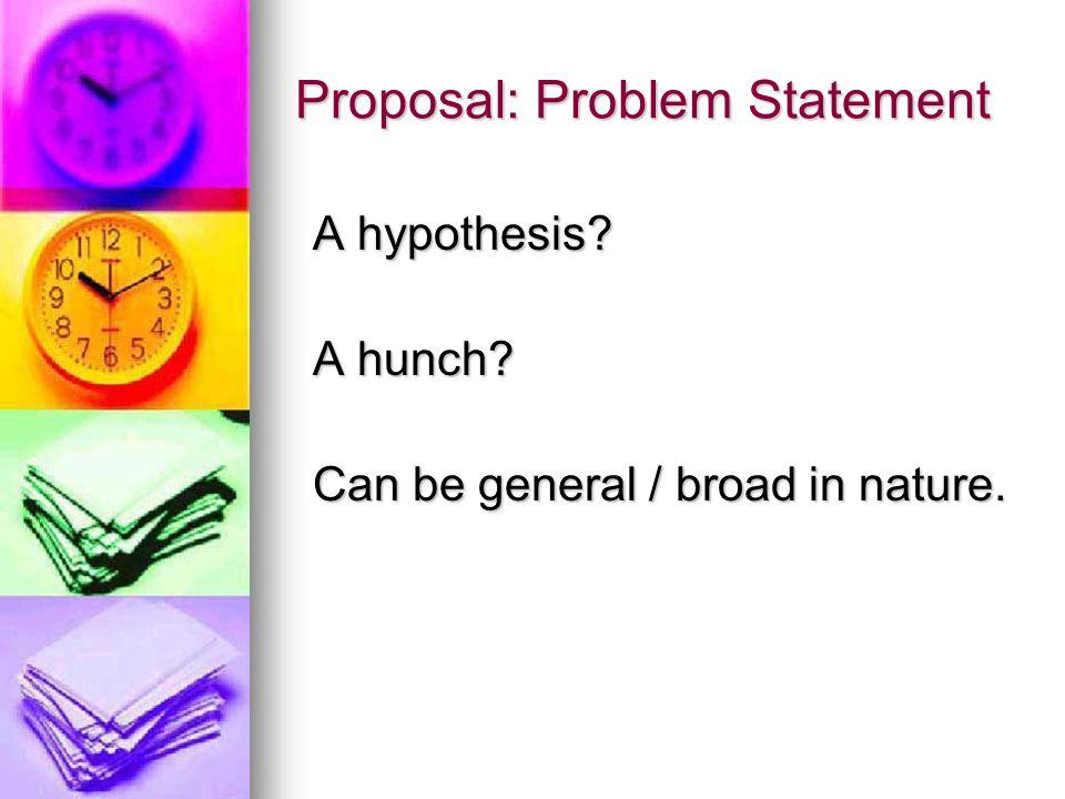 Proposal: Problem Statement