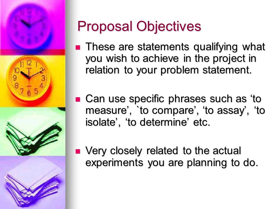 Proposal Objectives These are statements qualifying what you wish to achieve in the project in relation to your problem statement.