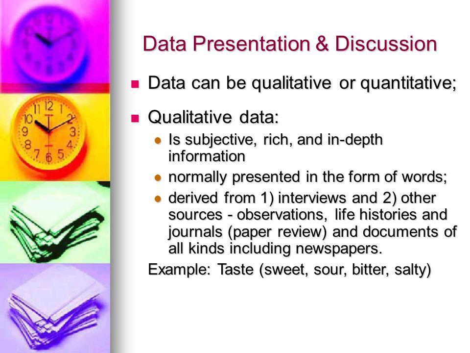 Data Presentation & Discussion