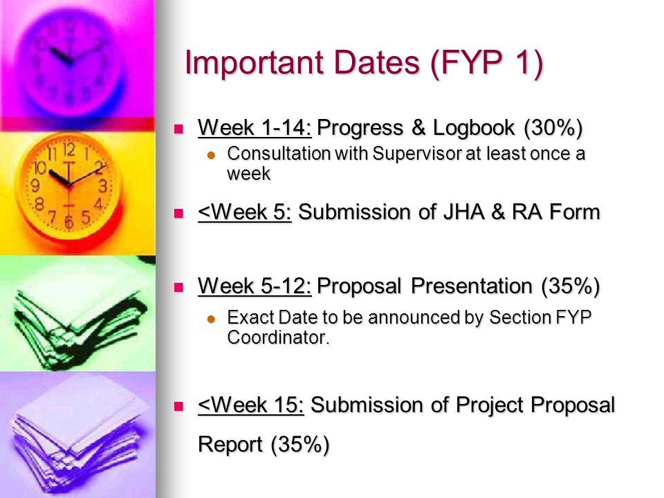 Important Dates (FYP 1) Week 1-14: Progress & Logbook (30%)