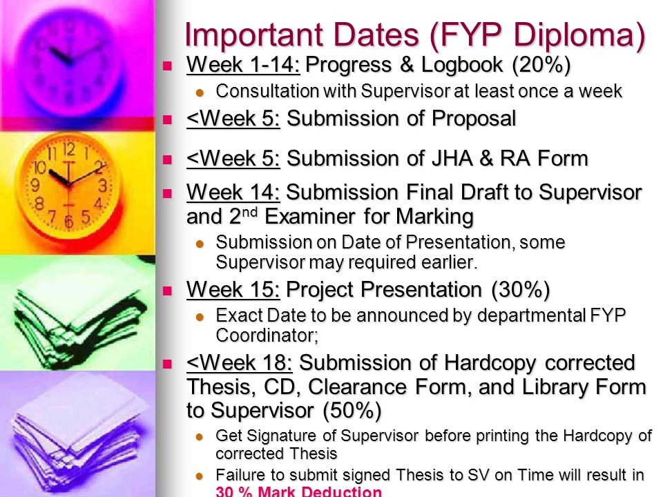 Important Dates (FYP Diploma)