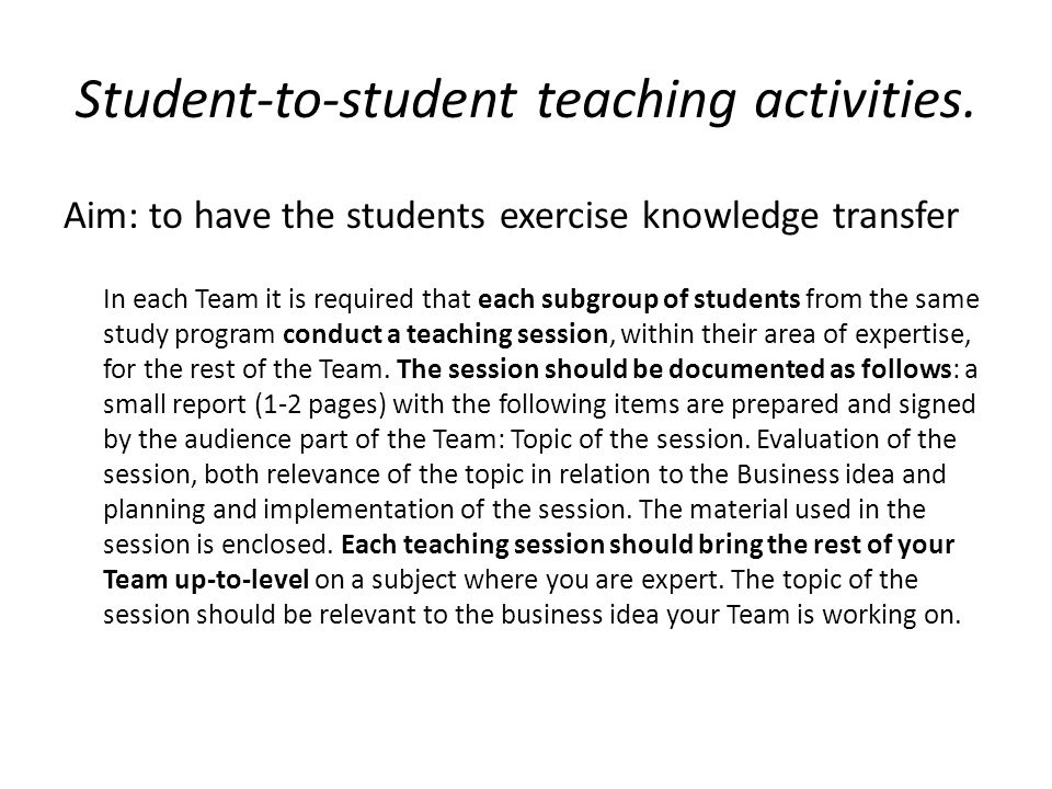 Student-to-student teaching activities.