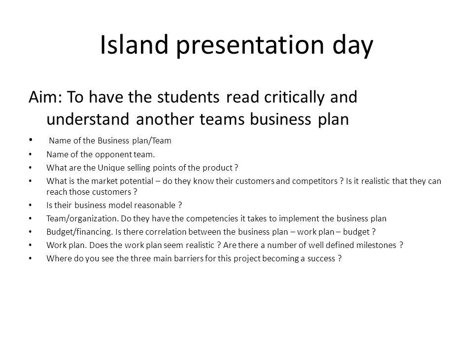 Island presentation day