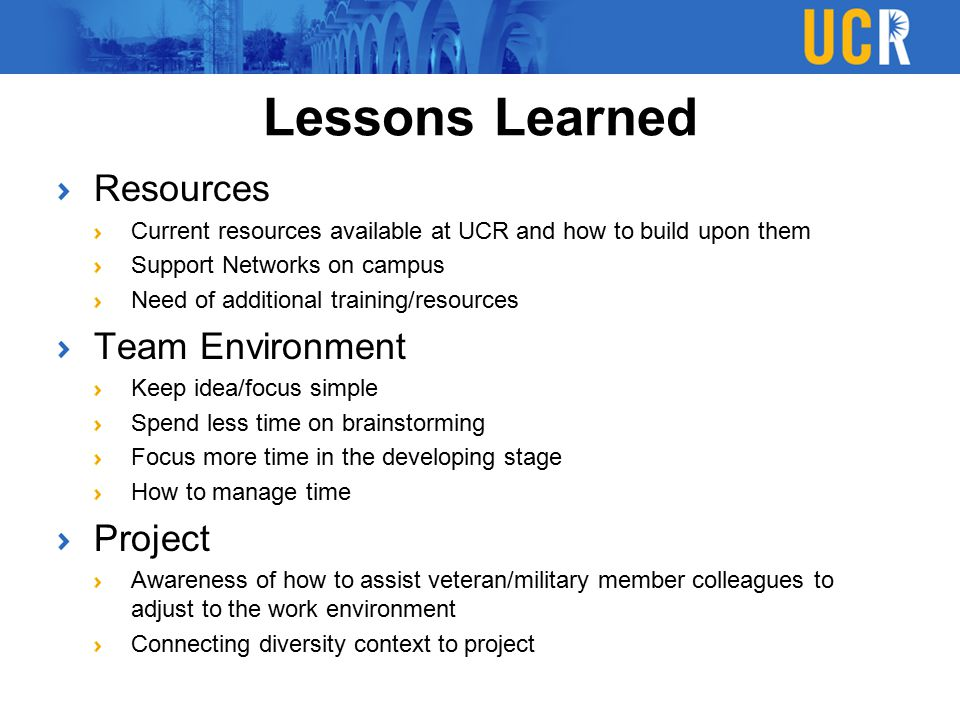 Lessons Learned Resources Team Environment Project