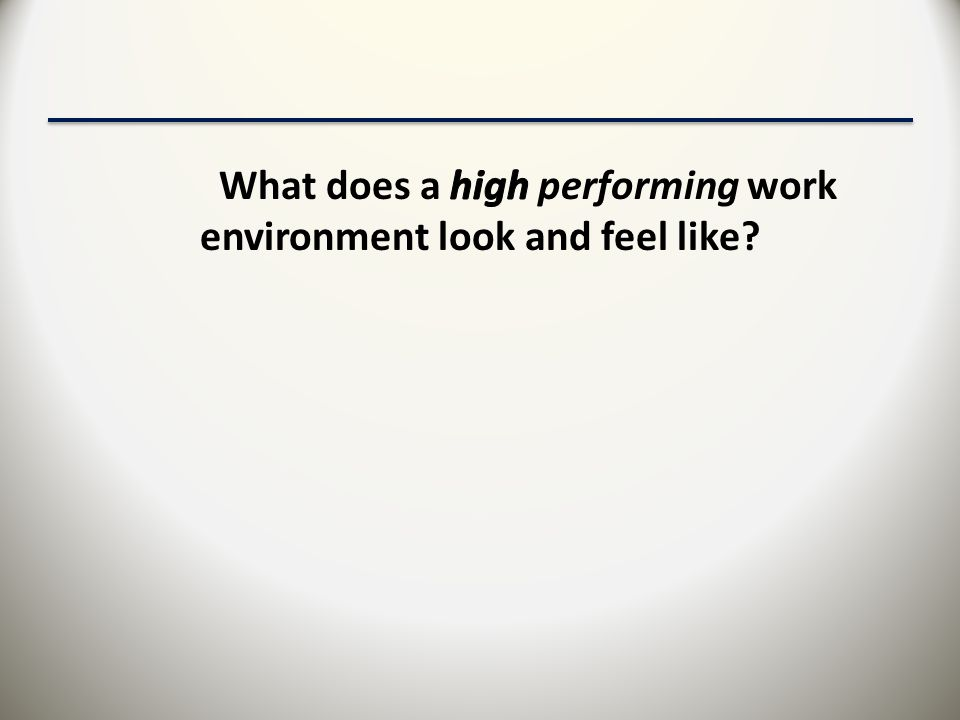 What does a high performing work environment look and feel like