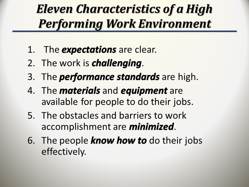 Eleven Characteristics of a High Performing Work Environment