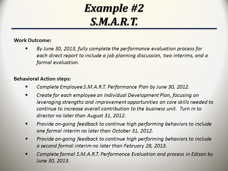 Example #2 S.M.A.R.T. Work Outcome: