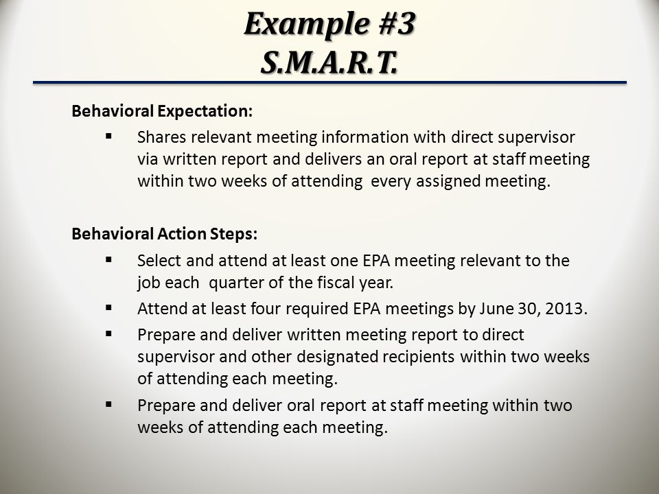 Example #3 S.M.A.R.T. Behavioral Expectation: