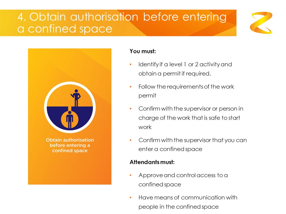 4. Obtain authorisation before entering a confined space