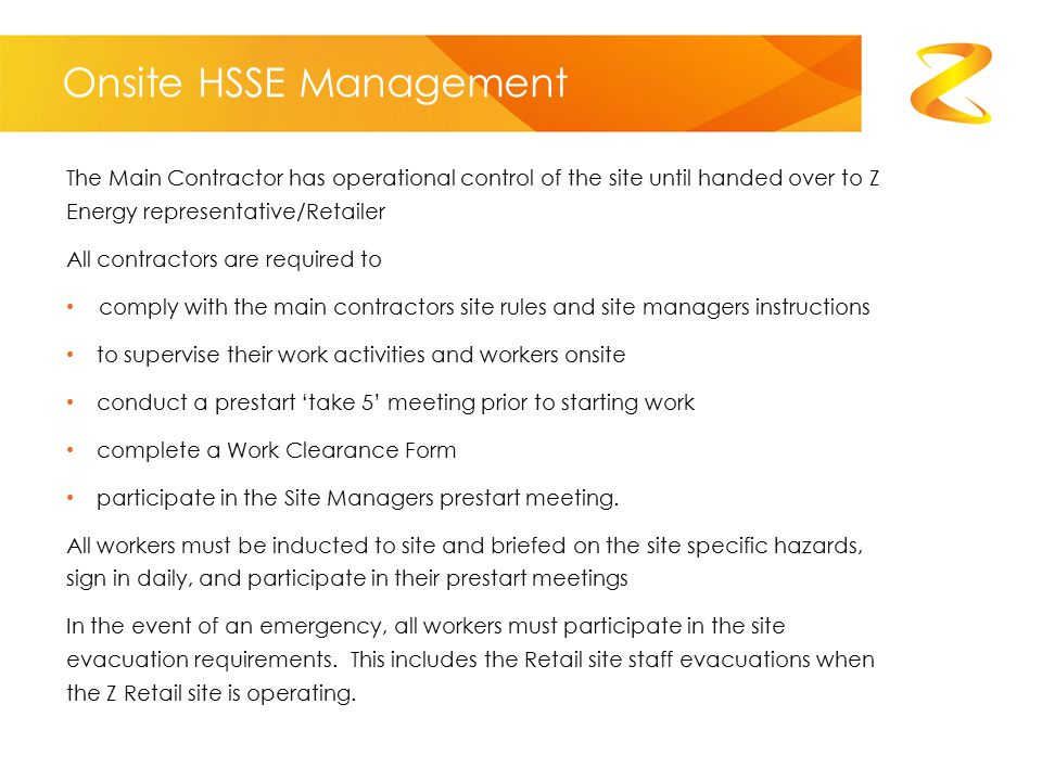 Onsite HSSE Management