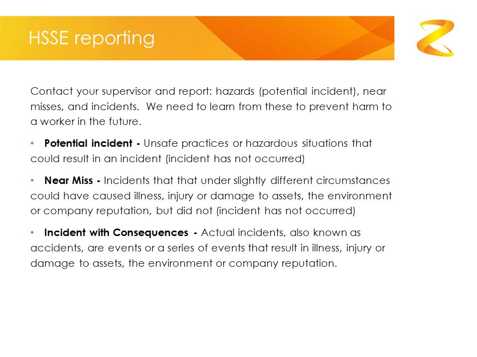 HSSE reporting