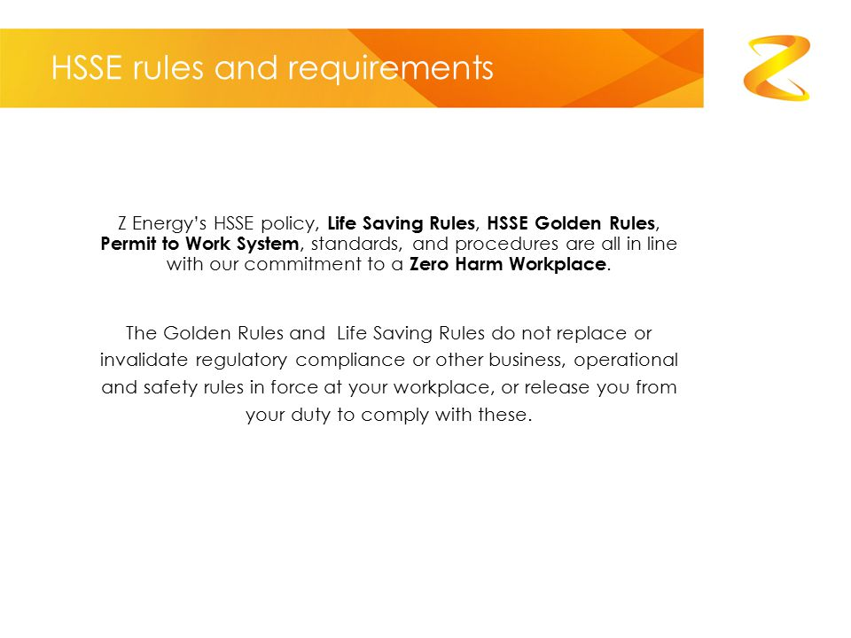 HSSE rules and requirements