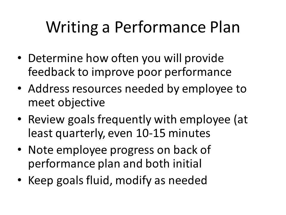 Writing a Performance Plan