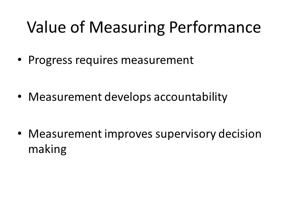 Value of Measuring Performance